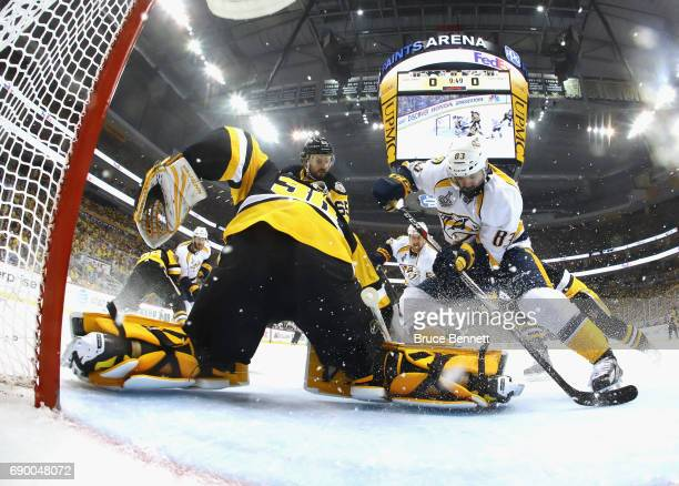 Pittsburgh Penguins goalie Matt Murray stops Nashville Predators center Vernon Fiddler during Game One of the 2017 NHL Stanley Cup Final at the...
