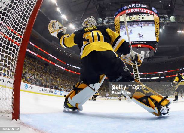 Pittsburgh Penguins goalie Matt Murray tends net against the Nashville Predators during Game One of the 2017 NHL Stanley Cup Final at the Consol...