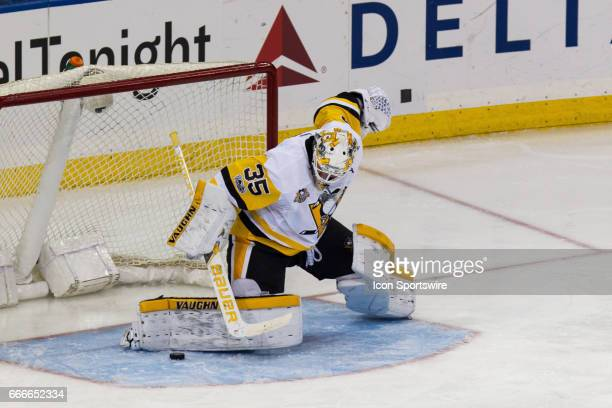 Pittsburgh Penguins Goalie Tristan Jarry blocks a shot on goal during the second period of the final game of the regular season between the...