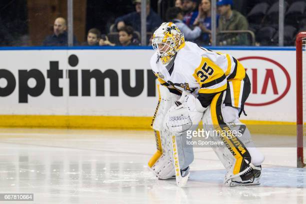 Pittsburgh Penguins Goalie Tristan Jarry gets ready to start the final game of the regular season between the Pittsburgh Penguins and the New York...