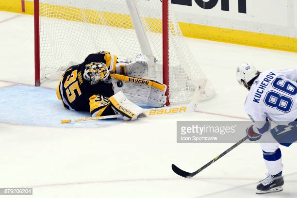 Pittsburgh Penguins Goalie Tristan Jarry makes a pad save on Tampa Bay Lightning Right Wing Nikita Kucherov during the second period in the NHL game...