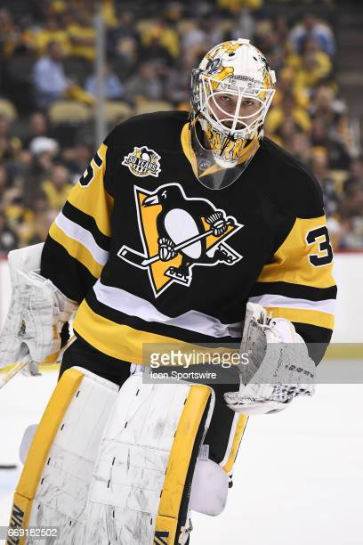Pittsburgh Penguins goalie Tristan Jarry warms up before Game Two of the Eastern Conference First Round during the 2017 NHL Stanley Cup Playoffs...