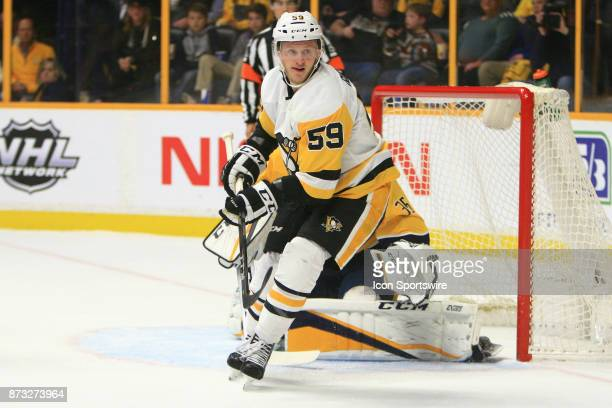 Pittsburgh Penguins left wing Jake Guentzel is shown during the NHL game between the Nashville Predators and the Pittsburgh Penguins held on November...