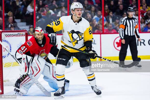 Pittsburgh Penguins Left Wing Jake Guentzel sets up in front of Ottawa Senators Goalie Craig Anderson during first period National Hockey League...