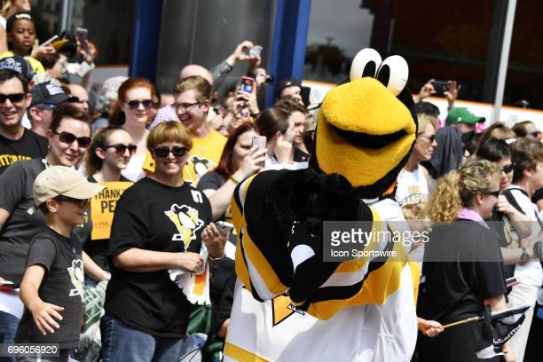 Pittsburgh Penguins mascot 'Iceberg' entertains the fans during the 2017 Pittsburgh Penguins Stanley Cup Champion Victory Parade on June 14 2017 in...