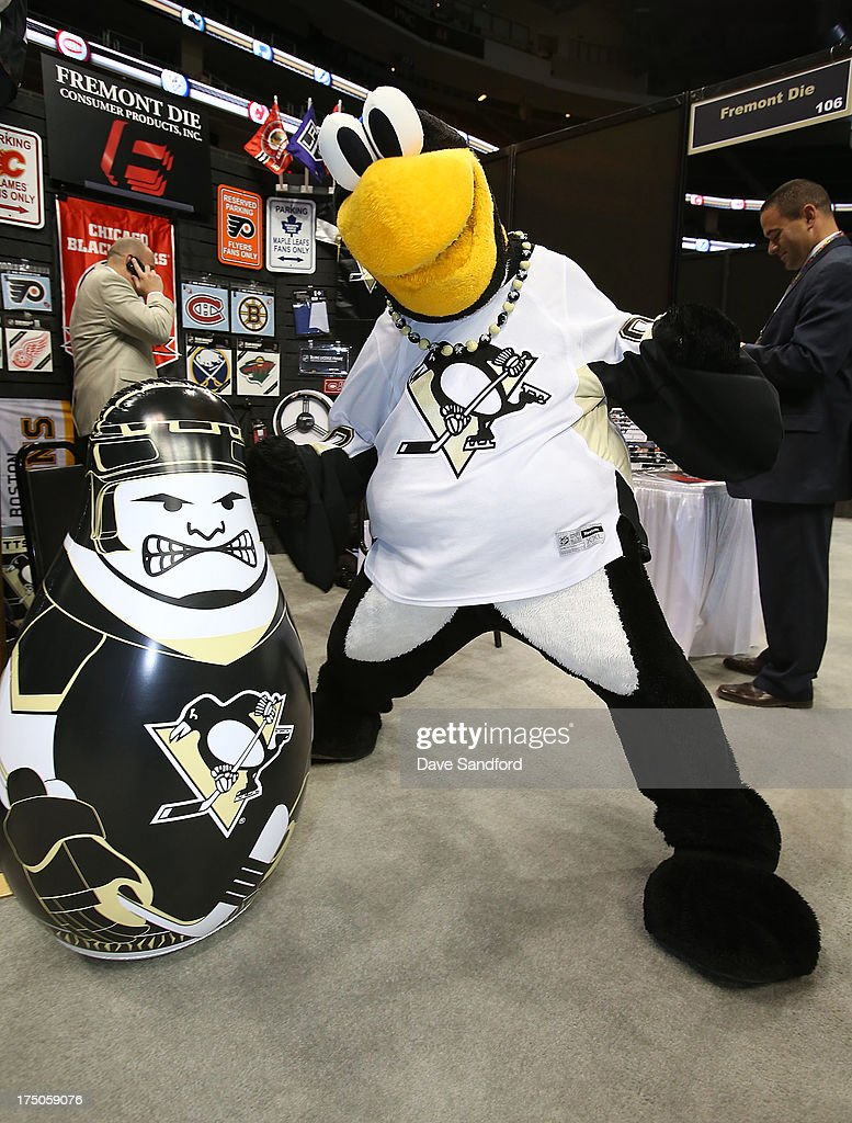 Pittsburgh Penguins mascot Iceburgh hits a punching bag during 2013 NHL Exchange the annual NHL Licensed Products forum at the Consol Energy Center on July 30, 2013 in Pittsburgh, Pennsylvania.