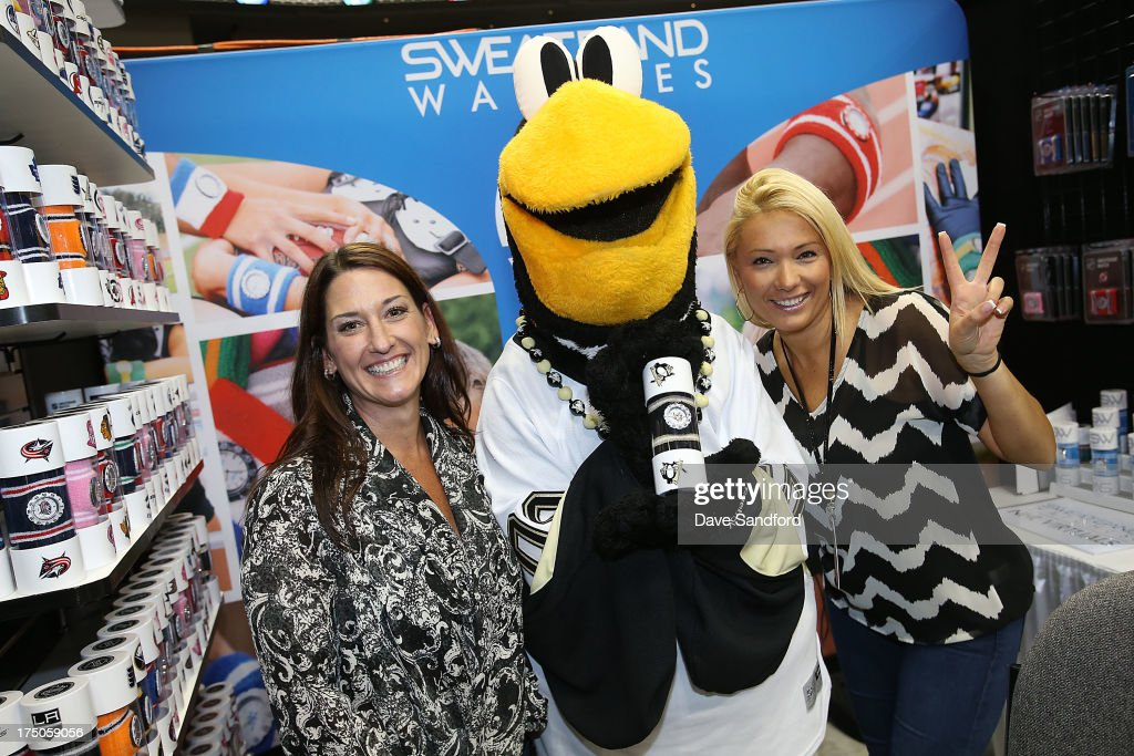 Pittsburgh Penguins mascot Iceburgh visits the Sweatband Watches, Inc. booth during 2013 NHL Exchange the annual NHL Licensed Products forum at the Consol Energy Center on July 30, 2013 in Pittsburgh, Pennsylvania.