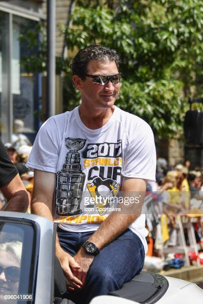 Pittsburgh Penguins owner Mario Lemieux rides along during the 2017 Pittsburgh Penguins Stanley Cup Champion Victory Parade on June 14 2017 in...