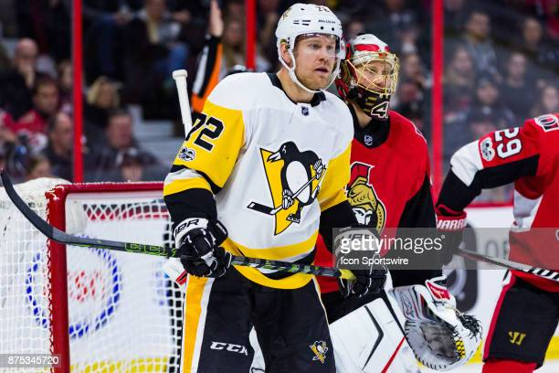 Pittsburgh Penguins Right Wing Patric Hornqvist sets up in front of Ottawa Senators Goalie Craig Anderson during first period National Hockey League...