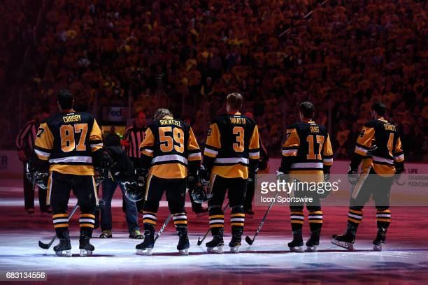 Pittsburgh Penguins starting line up of center Sidney Crosby center Jake Guentzel defenseman Olli Maatta right wing Bryan Rust and defenseman Justin...