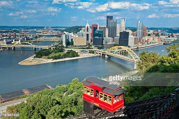 Pittsburgh, Pennsylvania and Duquesne Incline With Bright Red Cablecar