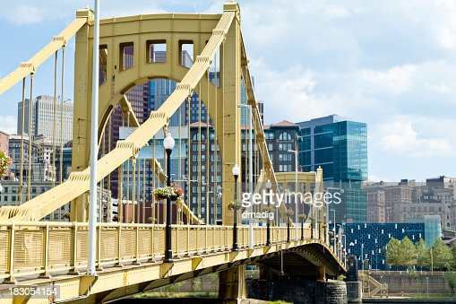 Pittsburgh Pennsylvania Cityscape and Close-up of Roberto Clemente Bridge