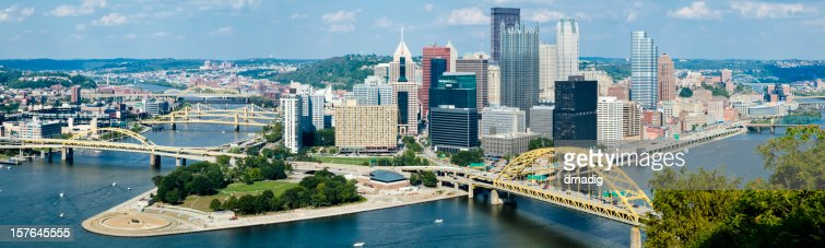 Pittsburgh Pennsylvania With Numerous Bridges - Stitched Panorama