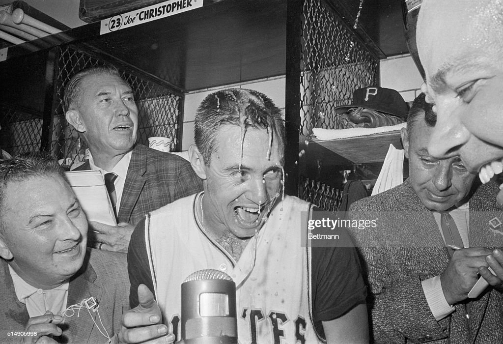 Pittsburgh Pirate Bill Mazeroski is doused with champagne in the locker room after hitting the home run that won the 1960 World Series for Pittsburgh over the New York Yankees.