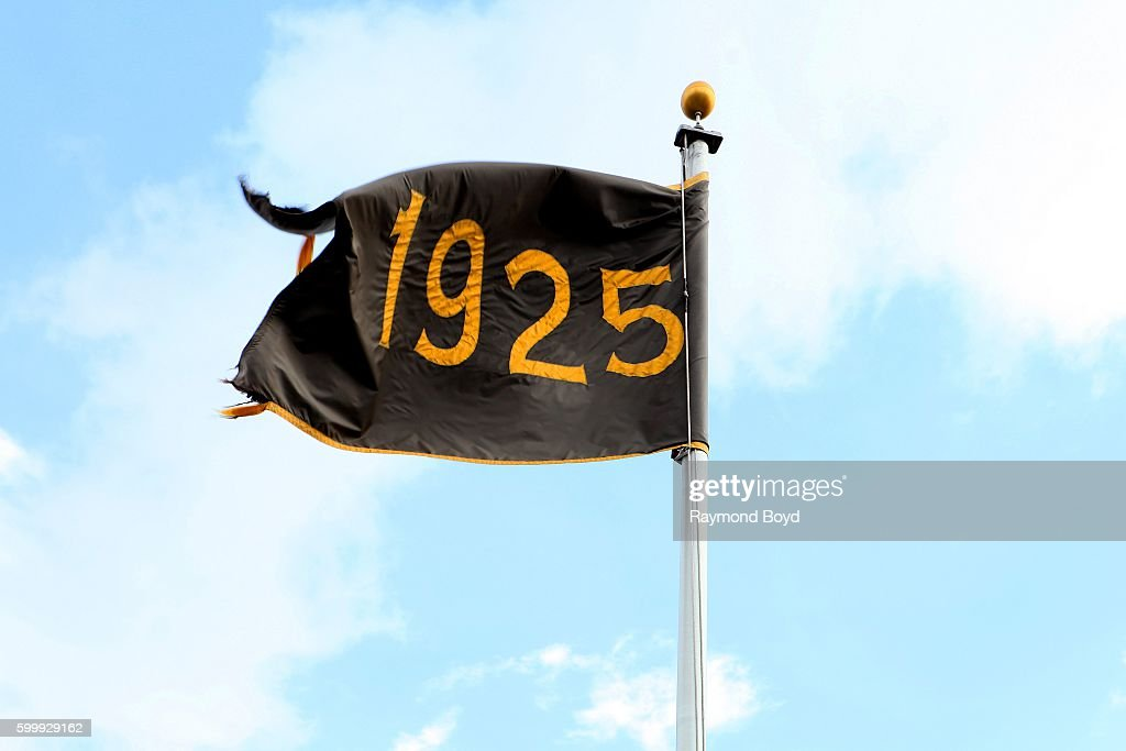 Pittsburgh Pirates' 1925 World Series banner flies outside PNC Park, home of the Pittsburgh Pirates baseball team in Pittsburgh, Pennsylvania on August 25, 2016.