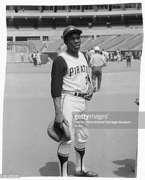 Pittsburgh Pirates baseball player Manny Sanguillen with catcher's mitt posing at Three Rivers Stadium Pittsburgh Pennsylvania July 1970