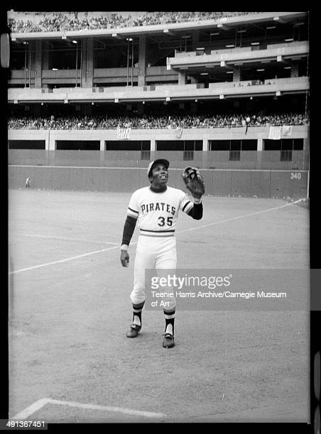 Pittsburgh Pirates baseball player no 35 Manny Sanguillen about to catch ball in Three Rivers Stadium Pittsburgh Pennsylvania circa 19701975
