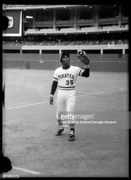 Pittsburgh Pirates baseball player no 35 Manny Sanguillen preparing to catch ball Three Rivers Stadium Pittsburgh Pennsylvania circa 19701975