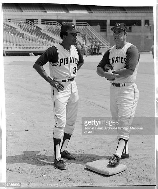 Pittsburgh Pirates baseball players Dave Cash and Bill Mazeroski on field in Three Rivers Stadium Pittsburgh Pennsylvania July 1970