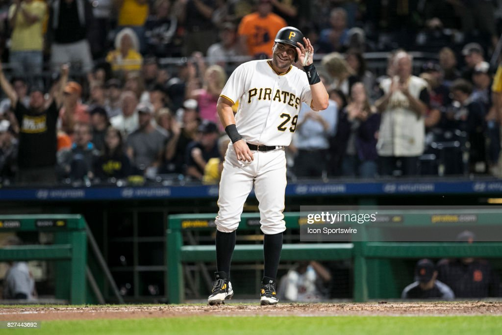 Pittsburgh Pirates Catcher Francisco Cervelli (29) awaits Pittsburgh Pirates First base John Jaso (28) after his home run during the Major League Baseball game between the San Francisco Giants and the Pittsburgh Pirates on August 7, 2017, at PNC Park in Pittsburgh Pa.