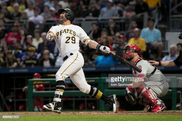 Pittsburgh Pirates Catcher Francisco Cervelli yells in disappointment as he flew out during the Major League Baseball game between the Philadelphia...