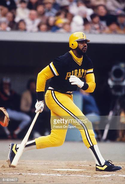 Pittsburgh Pirates' Dave Parker watches the flight of his ball before running for first during the World Series against the Baltimore Orioles at...
