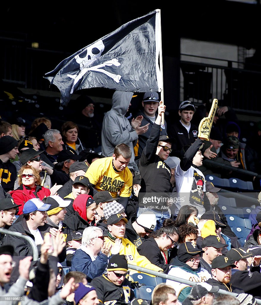 Pittsburgh Pirates fans cheer during a game against the Chicago Cubs during the opening day game on April 1, 2013 at PNC Park in Pittsburgh, Pennsylvania. The Cubs defeated the Pirates 3-1.