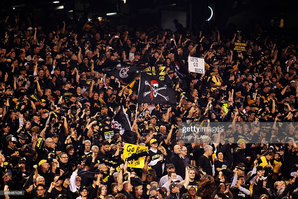 Pittsburgh Pirates fans cheer during their National League Wild Card game against the San Francisco Giants at PNC Park on October 1 2014 in...