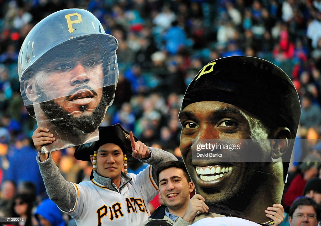 Pittsburgh Pirates fans during the second inning against the Chicago Cubs on April 27 2015 at Wrigley Field in Chicago Illinois