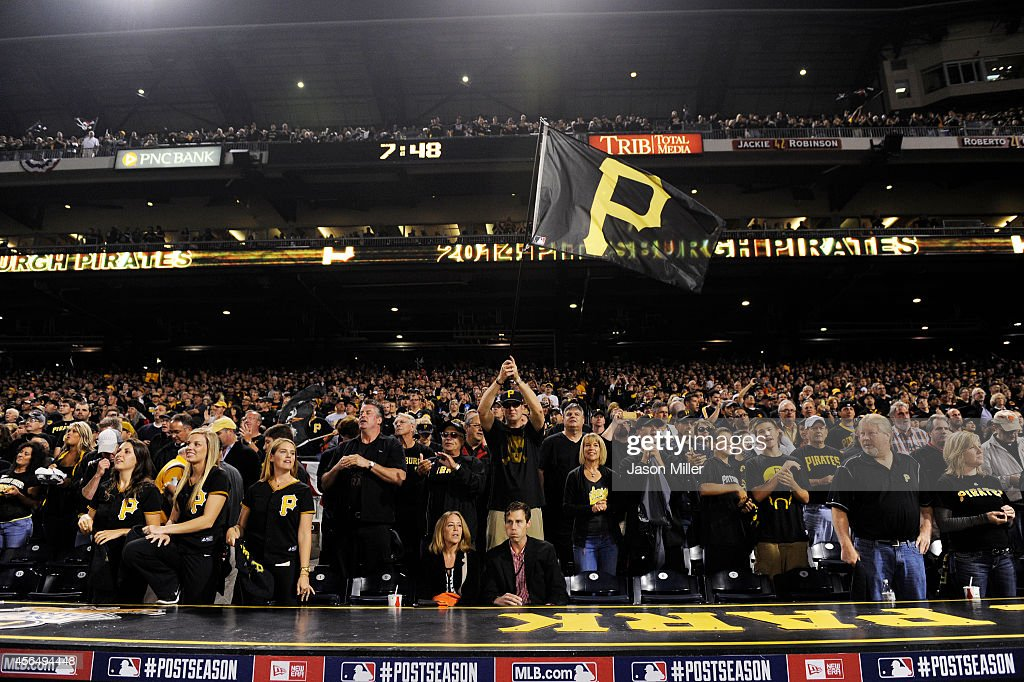 Pittsburgh Pirates fans prepare for their National League Wild Card game against the San Francisco Giants at PNC Park on October 1 2014 in Pittsburgh...