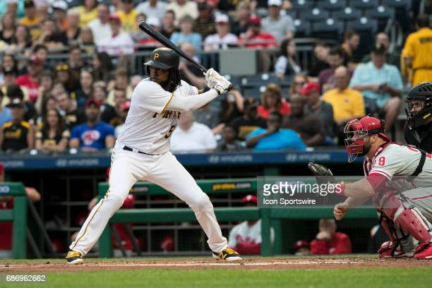 Pittsburgh Pirates First base Josh Bell awaits the next pitch during the Major League Baseball game between the Philadelphia Phillies and the...