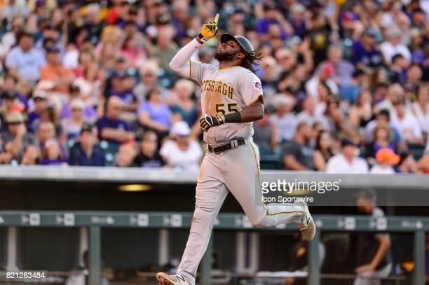 Pittsburgh Pirates first baseman Josh Bell celebrates after hitting a fourth inning solo homerun during a regular season Major League Baseball game...