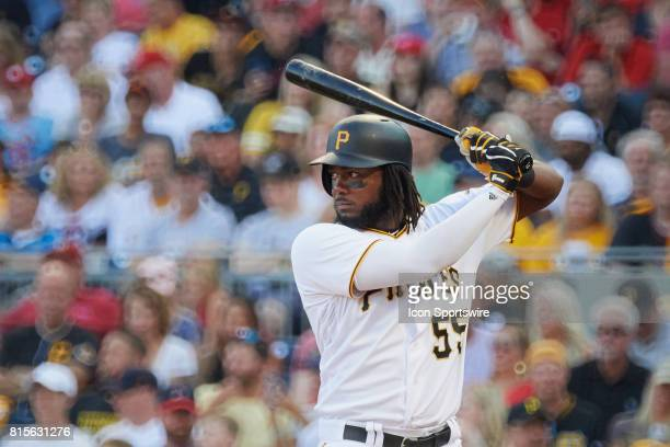 Pittsburgh Pirates first baseman Josh Bell gets ready to hit during an MLB game between the Pittsburgh Pirates and the St Louis Cardinals on July 15...