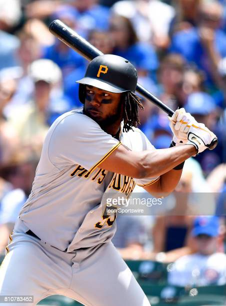 Pittsburgh Pirates first baseman Josh Bell is walked by pitch during the game between the Pittsburg Pirates and the Chicago Cubs on July 7 2017 at...