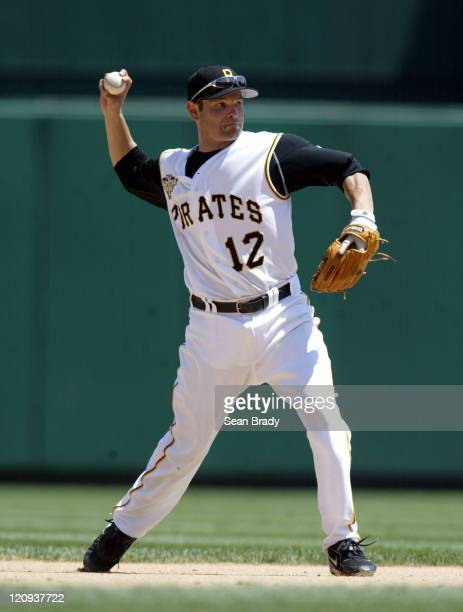 Pittsburgh Pirates Freddy Sanchez throws to first for an out during action against Atlanta at PNC Park in Pittsburgh Pennsylvania on August 3 2006