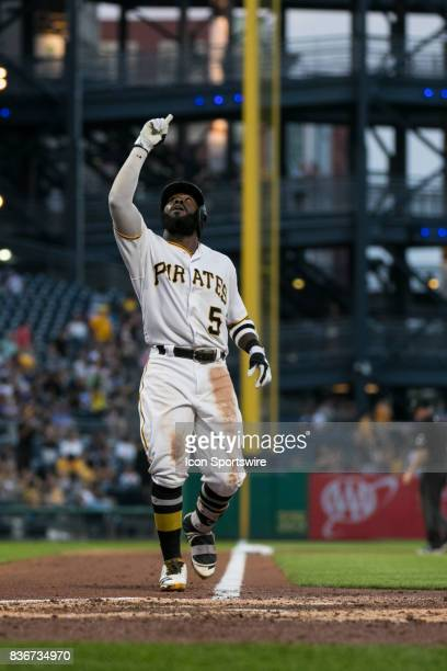 Pittsburgh Pirates Infield Josh Harrison points to the sky after hitting a home run during a game between the Los Angeles Dodgers and the Pittsburgh...