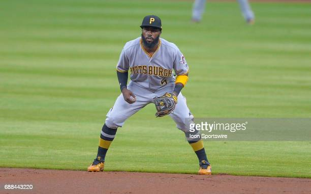 Pittsburgh Pirates infielder Josh Harrison gets set during a game between the Atlanta Braves and Pittsburgh Pirates on May 22 2017 at SunTrust Park...