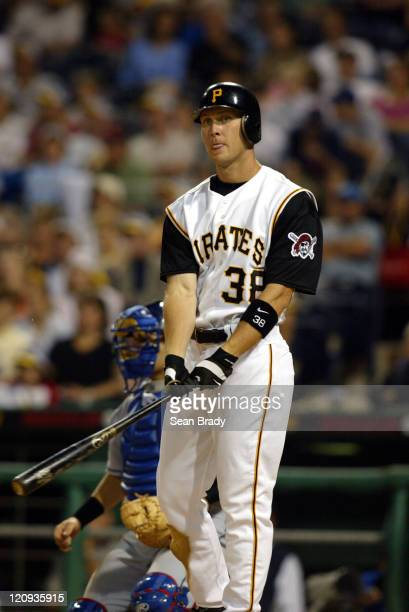 Pittsburgh Pirates Jason Bay in action against the Los Angeles Dodgers on May 8 2004 at PNC Park in Pittsburgh Pennsylvania