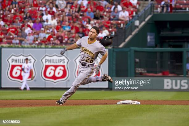 Pittsburgh Pirates left fielder Adam Frazier heads to third during a MLB baseball game between the St Louis Cardinals and the Pittsburgh Pirates on...