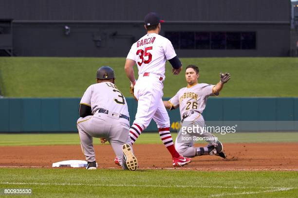 Pittsburgh Pirates left fielder Adam Frazier slides into third base against the St Louis Cardinals during a MLB baseball game between the St Louis...