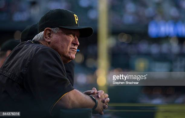 Pittsburgh Pirates manager Clint Hurdle is pictured in the dugout during a game against the Seattle Mariners at Safeco Field on June 29 2016 in...