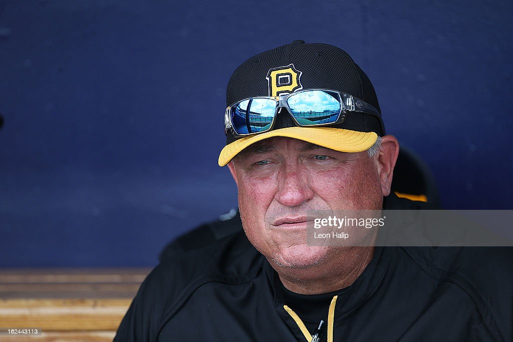 Pittsburgh Pirates manager Clint Hurdle #13 watches the action during the game against the Tampa Bay Rays on February 23, 2013 in Port Charlotte, Florida.
