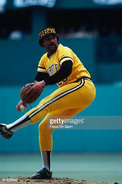 Pittsburgh Pirates' pitcher Jim Bibby pitches against the Baltimore Orioles during the World Series at Three Rivers Stadium in October of 1979 in...