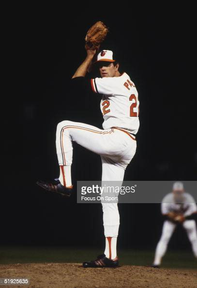 Pittsburgh Pirates' pitcher Jim Palmer winds up to pitch against the Baltimore Orioles during the World Series at Memorial Stadium in October of 1979...