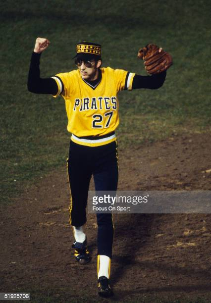 Pittsburgh Pirates' pitcher Kent Tekulve raises his hands in victory after one of his three saves against the Baltimore Orioles during the World...