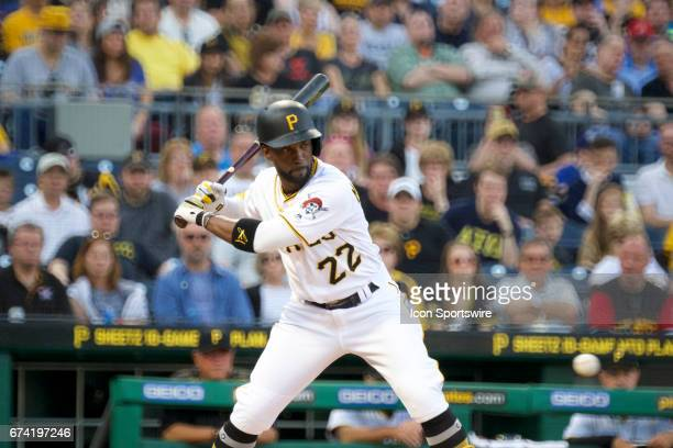 Pittsburgh Pirates right fielder Andrew McCutchen doubles on a sharp line drive bringing in one run during an MLB game between the Pittsburgh Pirates...