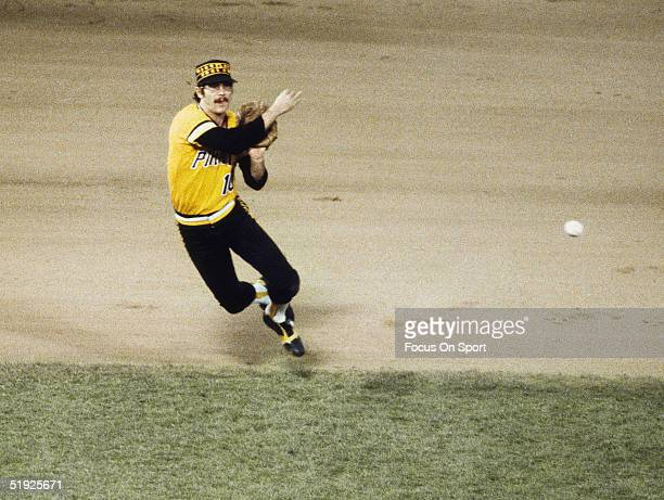 Pittsburgh Pirates' short stop Tim Foli#10 runs and throws a ball to first during the World Series against the Baltimore Orioles at Three Rivers...