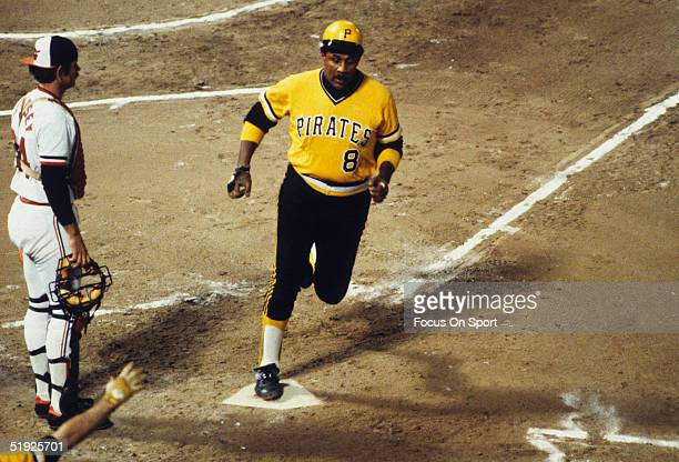 Pittsburgh Pirates' Willie Stargell runs across home plate during the World Series against the Baltimore Orioles at Three Rivers Stadium in October...