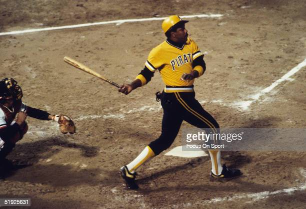 Pittsburgh Pirates' Willie Stargell swings against the Baltimore Orioles during the World Series at Memorial Stadium in October of 1979 in Baltimore...