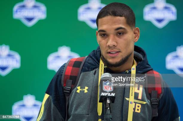 Pittsburgh running back James Conner answers questions from the podium during the NFL Scouting Combine on March 2 2017 at Lucas Oil Stadium in...